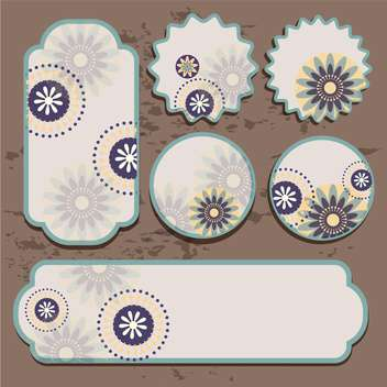 Vector floral labels on brown grunge background - vector gratuit #132083