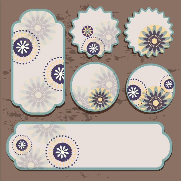Vector floral labels on brown grunge background - Free vector #132083