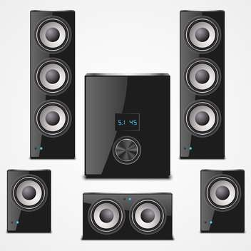 Sound speaker set on a white background - vector #132163 gratis