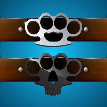 Brass knuckles on blue background,vector illustration - vector gratuit #132203