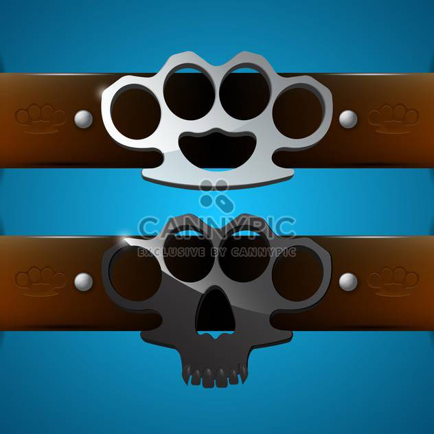 Brass knuckles on blue background,vector illustration - Free vector #132203