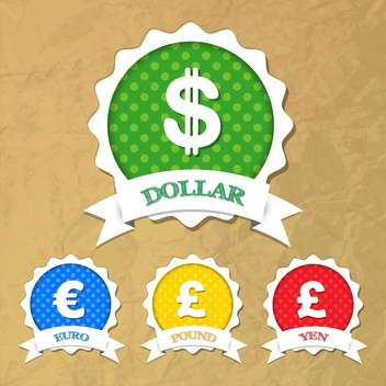 Set of vector labels with symbols of dollar,euro,pound,yen - vector gratuit #132233