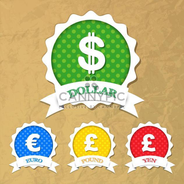 Set of vector labels with symbols of dollar,euro,pound,yen - Free vector #132233