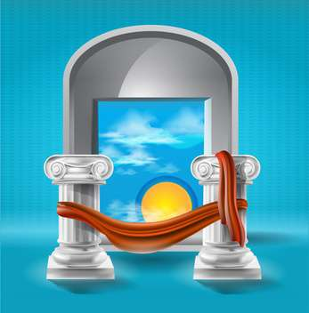 Wonderful sunset view between roman columns, vector illustration - vector gratuit #132243