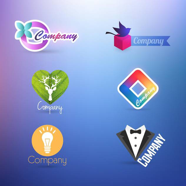 set of company logos for design on purple background - vector gratuit #132263