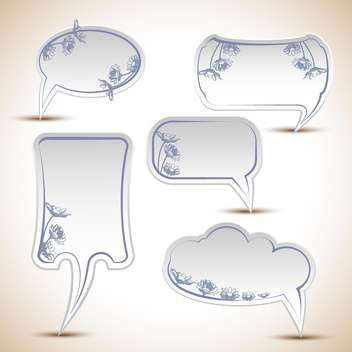 Vector set of floral speech bubbles - vector gratuit #132293