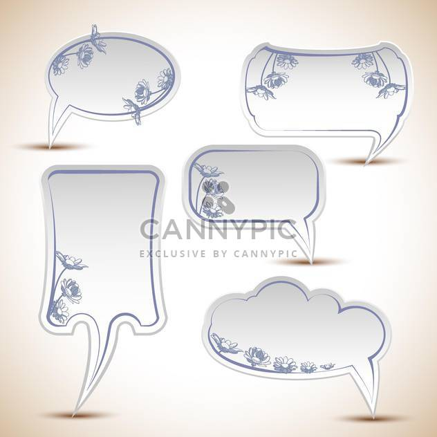 Vector set of floral speech bubbles - Free vector #132293