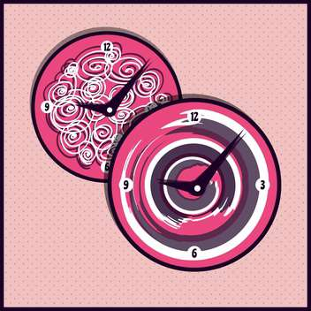 Vector vintage clocks on pink background,vector illustration - vector gratuit #132303