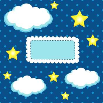 Night sky vector background with stars and clouds - Free vector #132473