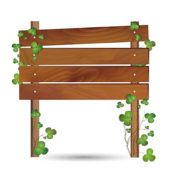 wooden board with clovers leaves - vector gratuit #132503