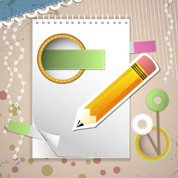 vector set of notebook page and pencil - vector #132523 gratis