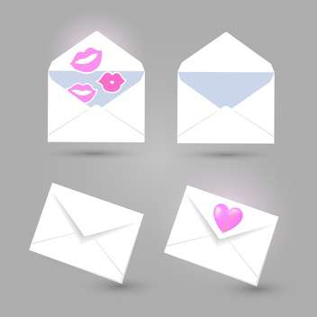 set of blank envelopes with kisses and heart - vector gratuit #132553