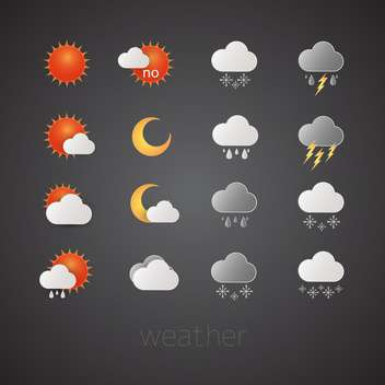 weather report icons set - vector #132593 gratis
