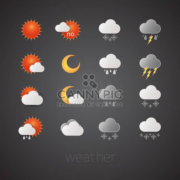weather report icons set - Free vector #132593