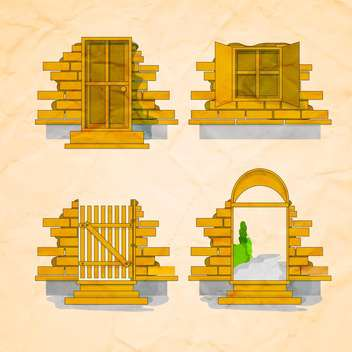 door and window set over brick wall background - бесплатный vector #132603