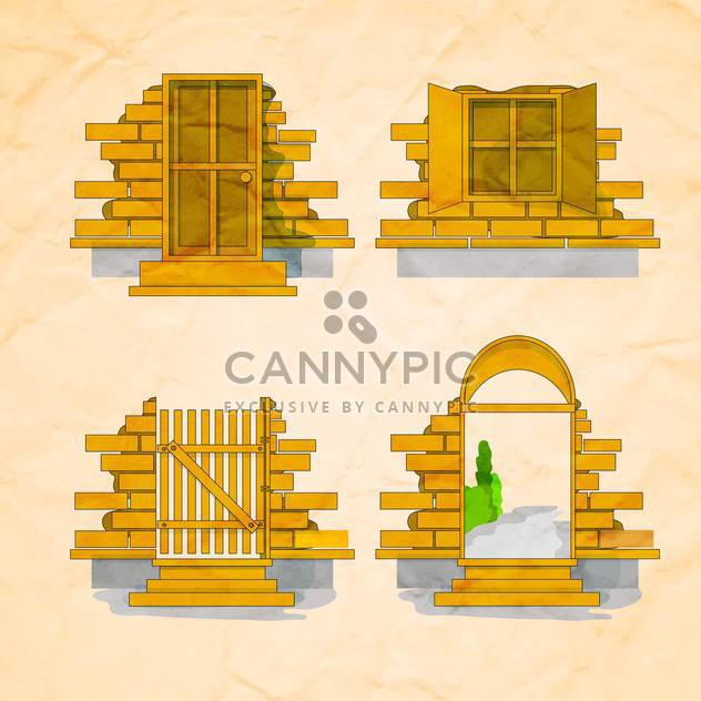 door and window set over brick wall background - Free vector #132603