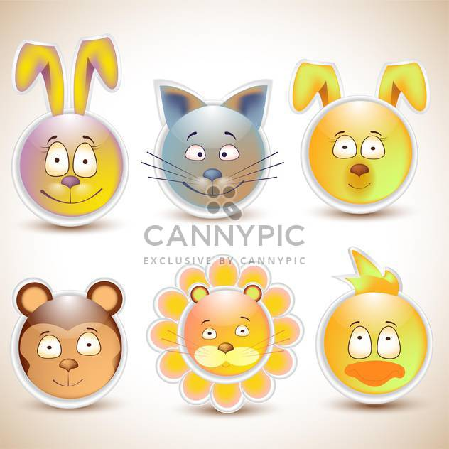 collection of funny animal smiles - Free vector #132673