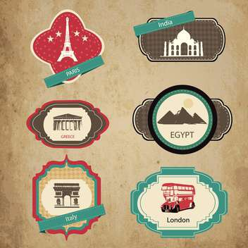 vintage travel icons and stickers set - vector gratuit #132763