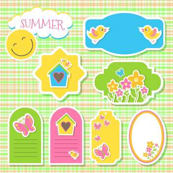 birds and flowers summer stickers - vector gratuit #132853
