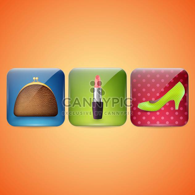 female cosmetic and beauty icons - Free vector #132993