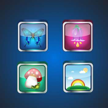 seasons set of square nature icons - vector gratuit #133123