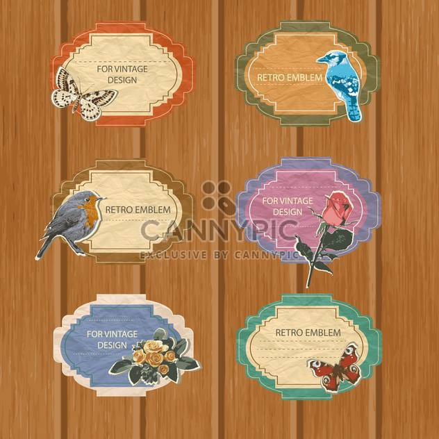 vector floral and avian summer cards - Free vector #133183
