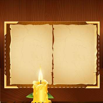 old book background and candle - vector gratuit #133283