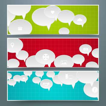 speech bubbles design cards set - vector gratuit #133363