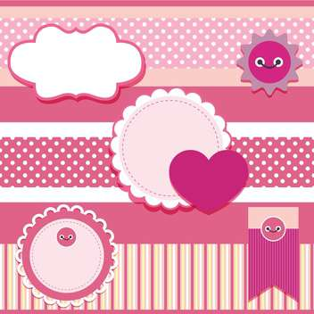 vector set of pink frames with hearts - Kostenloses vector #133443