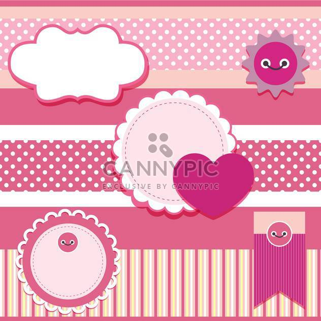 vector set of pink frames with hearts - Free vector #133443