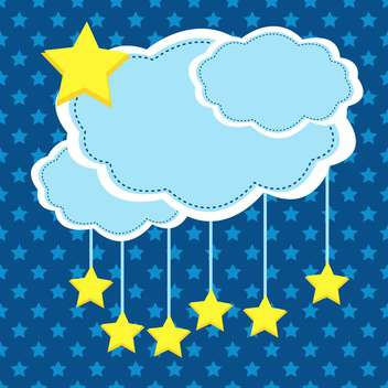 night background with clouds and stars - vector gratuit #133453