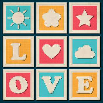 set of vintage love inscription background - vector gratuit #133563