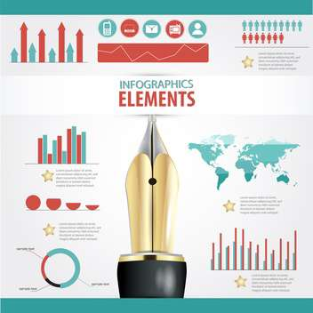 set elements of business infographics - Free vector #133703