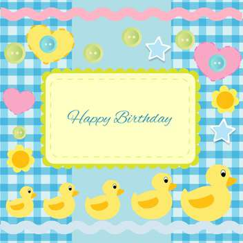 happy birthday invitation with ducklings - vector #133793 gratis