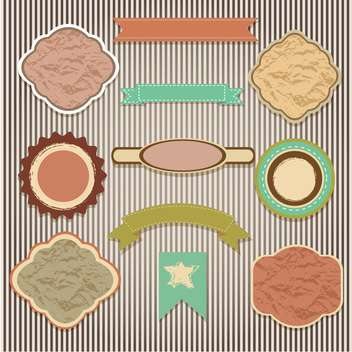 set of labels on striped background - vector gratuit #133803