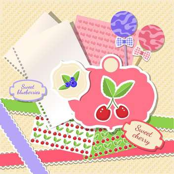 cherry and blueberries design on paper texture - vector #133823 gratis