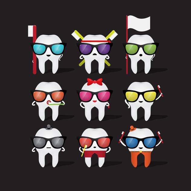 cartoon tooth character in glasses - vector #133843 gratis