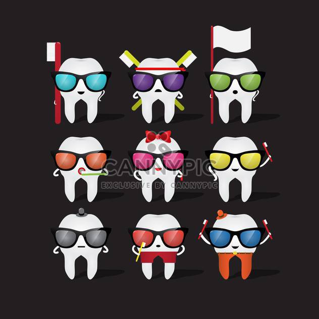 cartoon tooth character in glasses - Free vector #133843