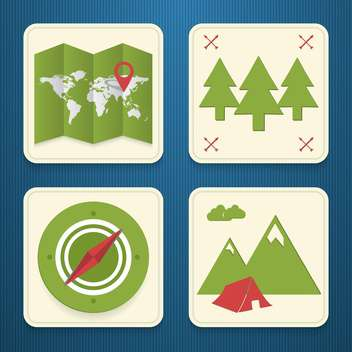 vector travel icons set - vector gratuit #133883