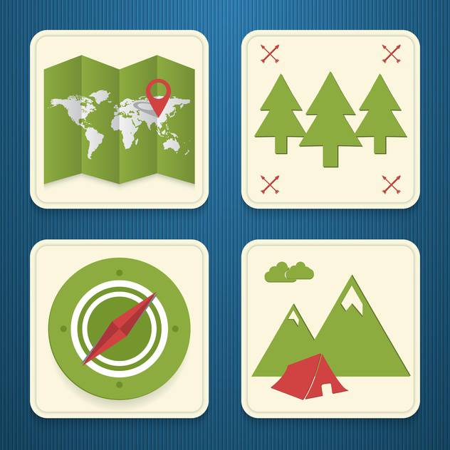 vector travel icons set - Free vector #133883