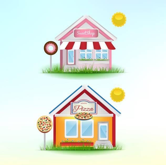 set of cartoon shops background - vector #133913 gratis