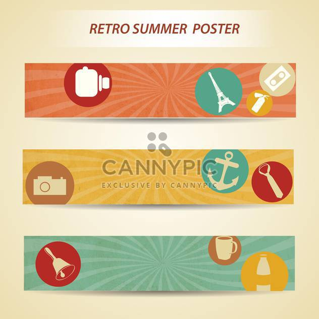 retro summer poster background - Free vector #133953