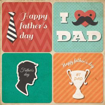 retro happy father's day card - vector gratuit #134053