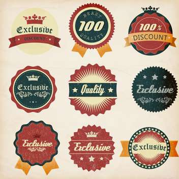 vintage design emblems set - vector gratuit #134293