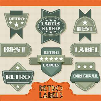 retro labels icons set - vector gratuit #134353