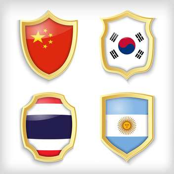 set of shields with different countries stylized flags - бесплатный vector #134513
