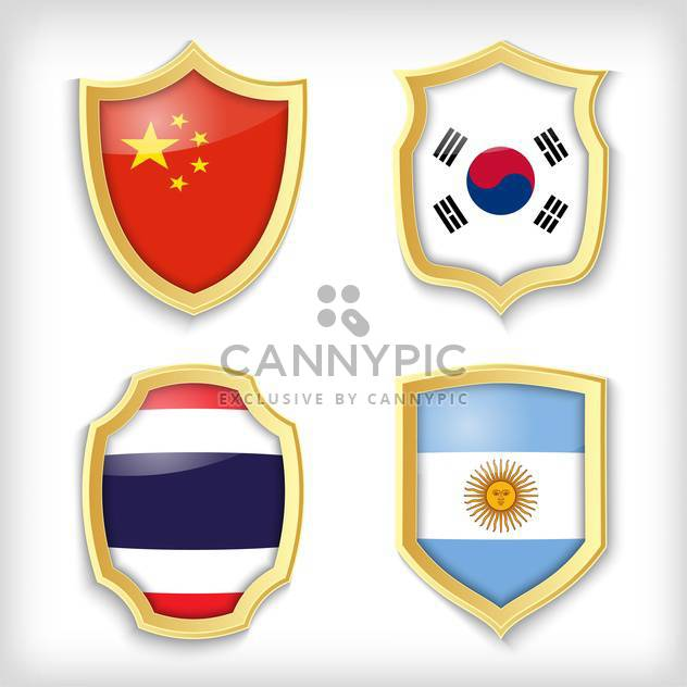 set of shields with different countries stylized flags - Free vector #134513