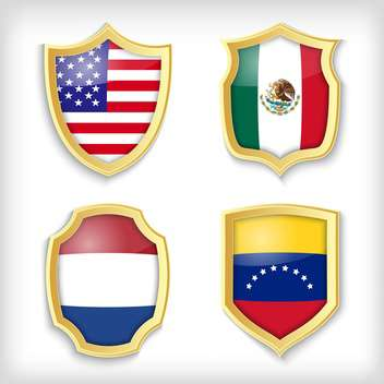 shield set background with countries flags - Free vector #134523