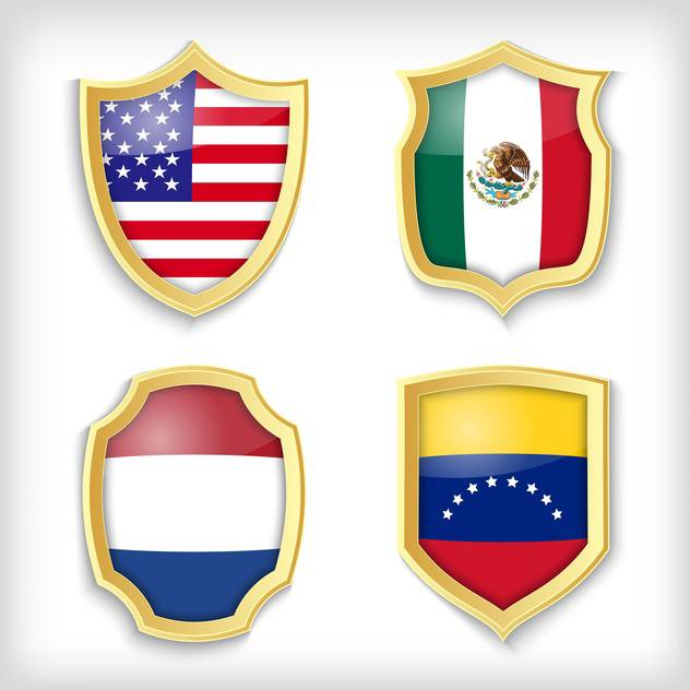 shield set background with countries flags - vector gratuit #134523