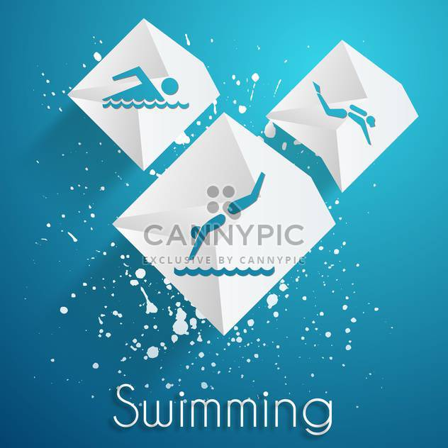 swimming contest vector icons set - Free vector #134583
